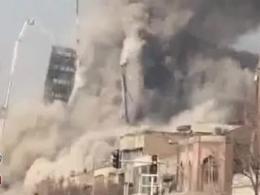لحظه فروریختن ساختمان پلاسکو در تهران از نمايي ديگر