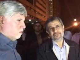 مصاحبه با احمدی نژاد در محوطه بیمارستان بقیه الله