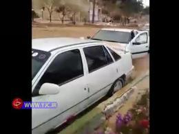 سیل سهمگین شیراز،ده ها خودرو را با خود برد.