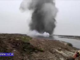 تخلیه سیلاب با منفجر کردن دهانه ورودی رود قره سو + فیلم