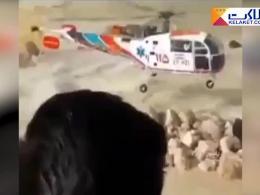 مهارت بالای خلبان در نجات دو شهروند در میان سیل