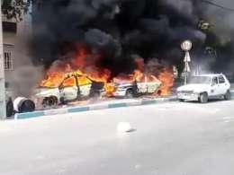 آتش زدن خودروهای ناجا در شیراز