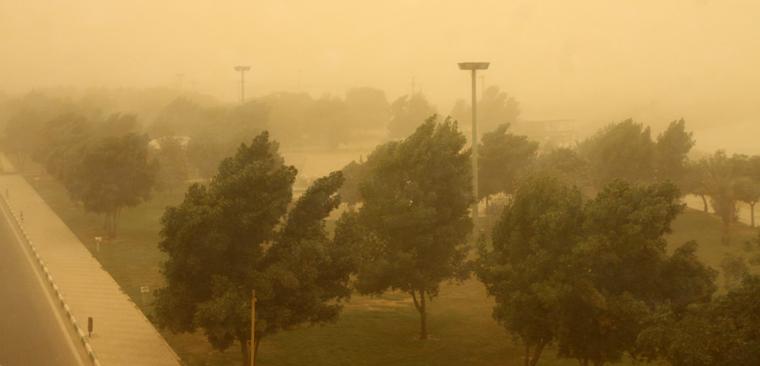 """لحظه ورود """"گرد و غبار"""" به خوزستان"""